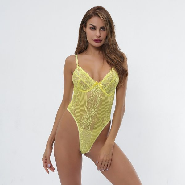 Cryptographic hot sale sheer lace bodysuit women backless transparent mesh bow sexy jumpsuit 2021 catsuit straps bodysuits thong
