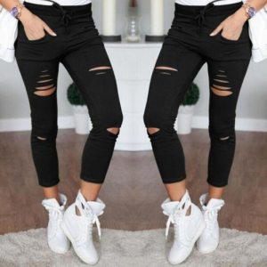 2021 New Ripped Jeans For Women Women Big Size Ripped Trousers Stretch Pencil Pants Leggings Women Jean Casual Slim Ladies Jeans 1