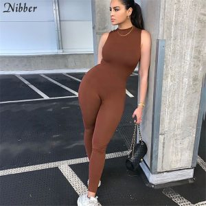 Nibber 2020 Autumn Solid Basic Black White Jumpsuit Overalls Women Street Casual Wear Sleeveless Fitness Outfit Playsuit Female 1