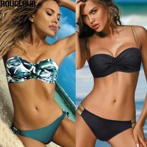 2020 Sexy Solid Color Bikini Women Swimwear Bandeau Biquini Swimsuit Female Bathing Suit Push Up Bikini Set Beachwear 1