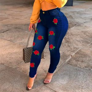 Spring and autumn sexy high-waist women jeans fashion flower embroidery skinny slimming denim pants lady sexy denim pencil pants 1