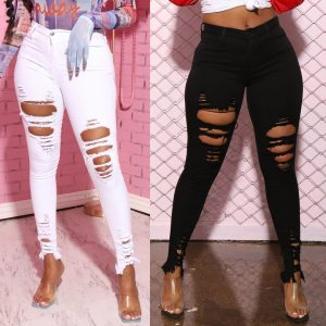 New Black White Stretch Ripped Jeans Skinny Jeans Women Denim Pants Holes Destroyed Knee Pencil Pants Casual Trousers 1