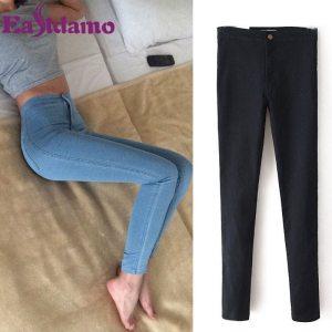 Eastdamo Slim Jeans For Women Skinny High Waist Jeans Woman Blue Denim Pencil Pants Stretch Waist Women Jeans Pants Plus Size 1