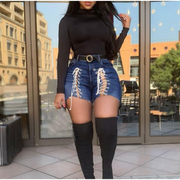 Plus Size Sexy White Blue Hollow Out Denim Shorts 4XL Summer Women High Waist Ripped Tassel Short Jeans Lace Up Bandage Hotpants 4