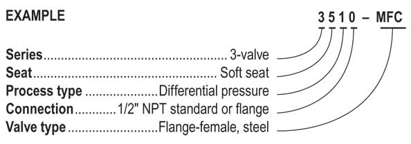 3510 Series 3-Valve Differential Pressure Manifold Valves