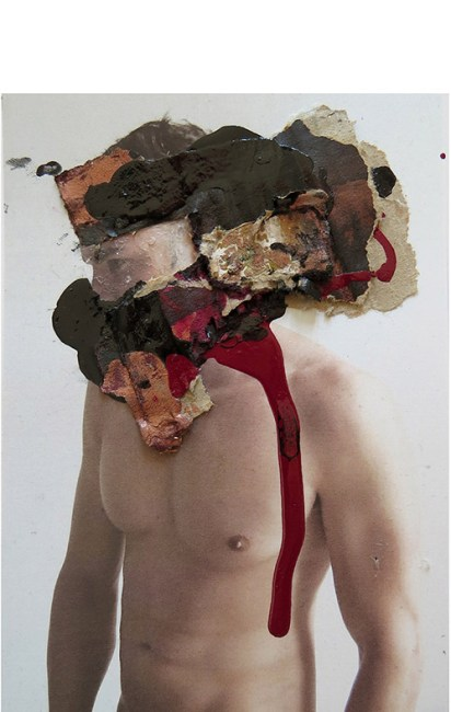 MAD FACE 113 MIXED MEDIA:COLLAGE ON PHOTO. 15 x 20 cm