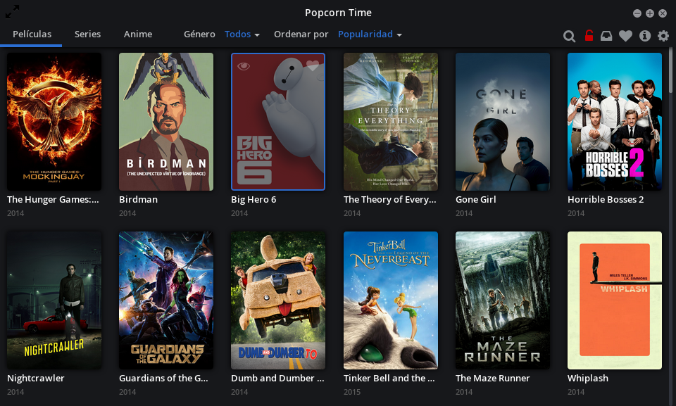 Popcorn Time: vídeo a la carta en Ubuntu