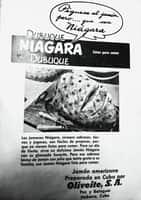 """La imagen puede contener: texto que dice """"Piguese al jamon pero.... Niágara gue sea DUBUQUE NIAGARA DUBUQUE Listos para comer jamones Niágara siempre sabrosos, jugosos, fáciles preparar, vienen listos comer. Para fiesta, delicioso Jamón Niágara glaseado favorito. sabroso bistec de jamón piña gusta familia, use Jamón Niágara listo para comer. Jamón americano Preparado en Cuba por Oliveite, S. A. Paz y Balaguer Hobana, Cuba"""""""
