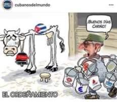 May be a meme of text that says 'CUBAN POR MUNDO cubanosdelmundo ¡BUENOS DÍAS CARIÃ'O! FLORIDA CIMEX EL ORDEÃ'AMIENTO ONAT'
