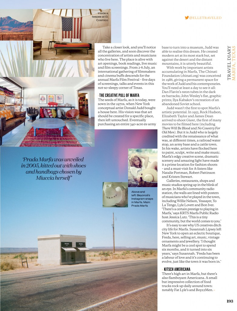 Nostalgia Film in ELLE UK - film photography, travel photographer, West Texas, Marfa, Prada Marfa