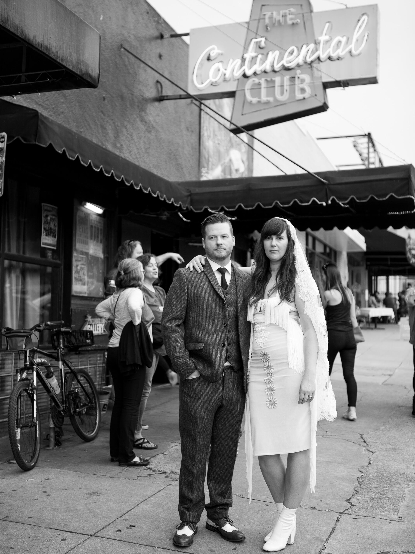 Austin Wedding Photography - hip couple Continental Club