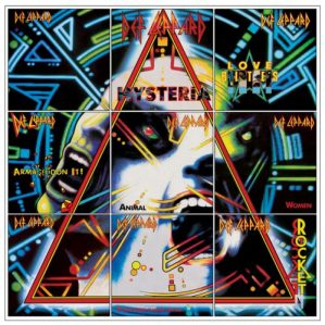 """Hysteria"" album's singles together. Album cover designer Andie Airfix deserves great credit!"