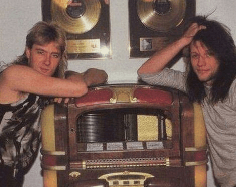 Rock and Roll Hall of Fame face-off: Def Leppard's Joe Elliott and Jon Bon Jovi in 1988. Frenemies? Nah. But check out this article comparing both bands at NostalgicLogic.com.
