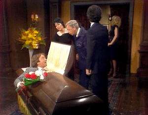 Three's Company Episode: Dying to Meet You (Jack in coffin at funeral home)