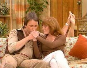 Three's Company Episode: Triangle Troubles (Jack holding three hands)