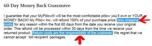 MyPillow Money Back Return Guarantee