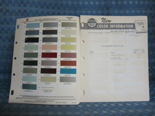 1959 Chrysler Original Ditzler Paint Color Chip Chart & Info Bulletin