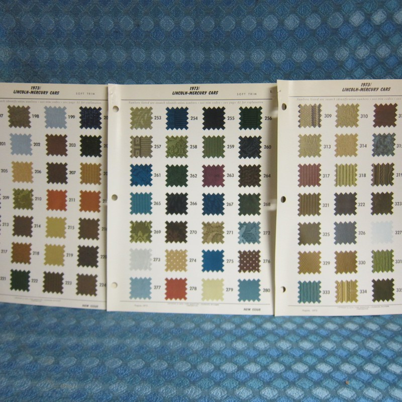 1973 Lincoln Mercury Original Upholstery - Soft Trim Identification Sample Pages