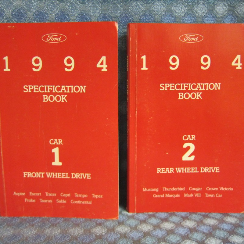 1994 Ford Lincoln Mercury OEM Specification Books 2 Volume Set SEE AD