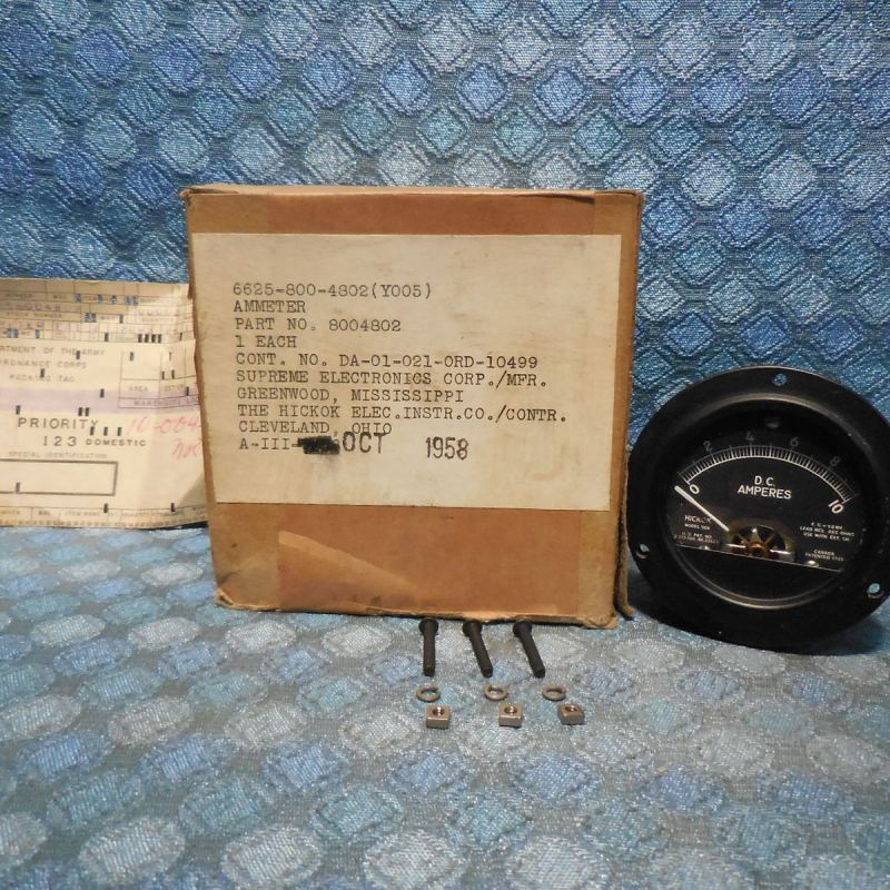 1958 US Military NOS Hickok DC Amperes Gauge Ammeter # 8004802 Vehicle? Panel?