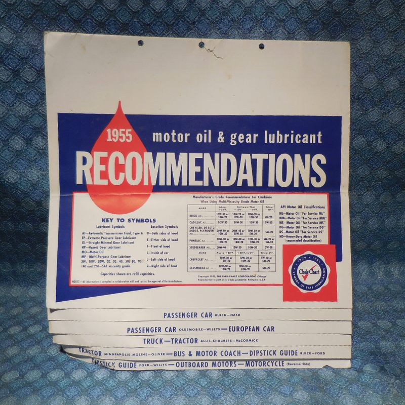 1942-1955 Original Oil & Gear Lube Specification Check Chart GM Ford Nash Mopar