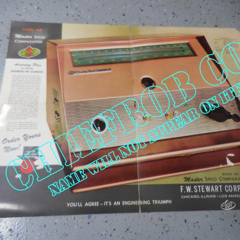 1959 F.W. Stewart Original Master Speed Comparator 900 Sales Folder / Poster