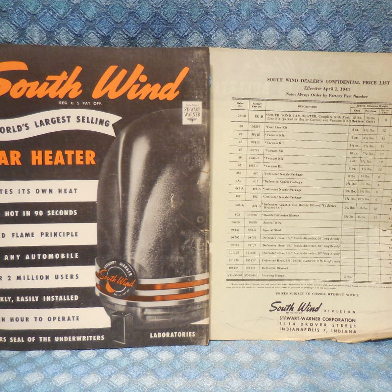 1947 South Wind Car Heater Original Sales Brochure and Price List