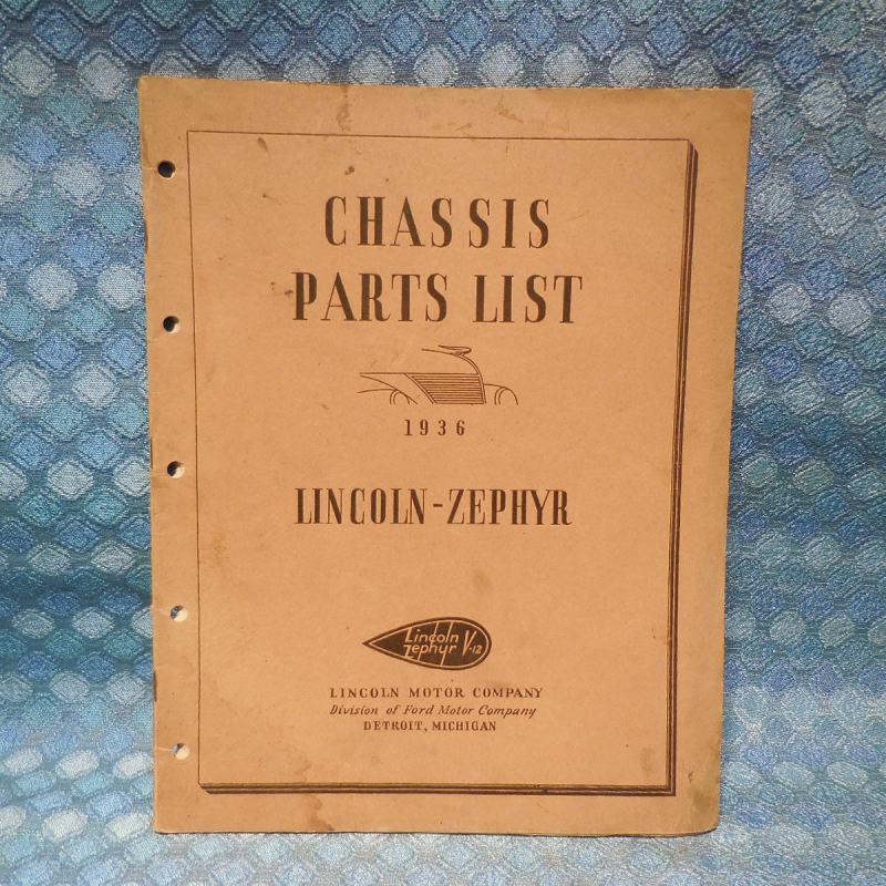 1936 Lincoln Zephyr V12 Original OEM Chassis Parts List / Catalog