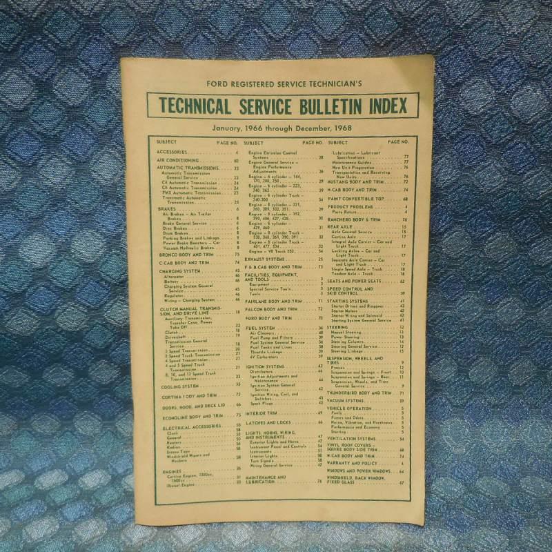1966-1968 Ford Original Technical Service Bulletin Index 1967 1968