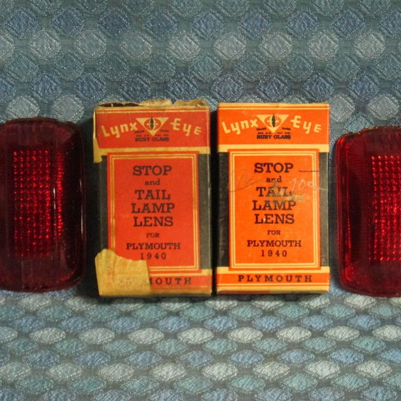 1940 Plymouth NOS Tail Lamp Lenses Pair