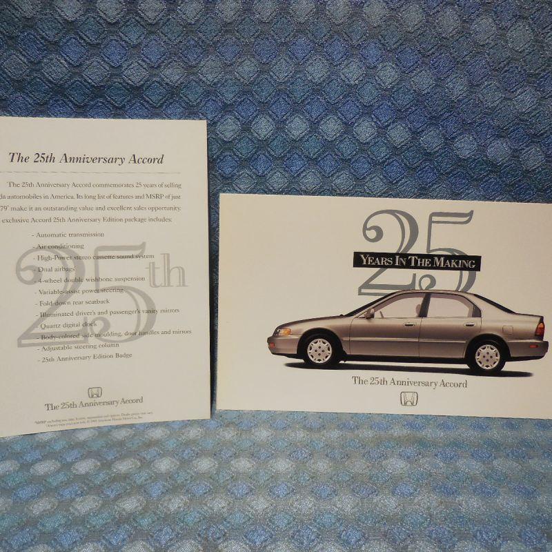 1996 Honda Accord Original 25th Anniversary Large Postcard & Sales Info Card