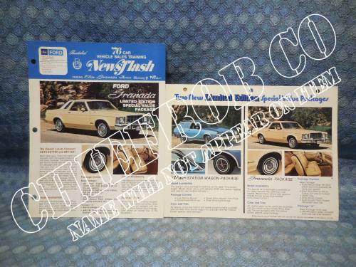 1976 Ford Granada Limited Edition Original Newsflash & Salesman Information Card