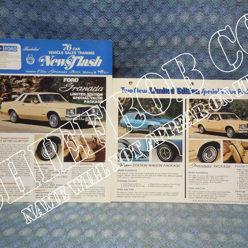 1976 Ford Granada Limited Edition Original Newsflash & Salesman Information Card