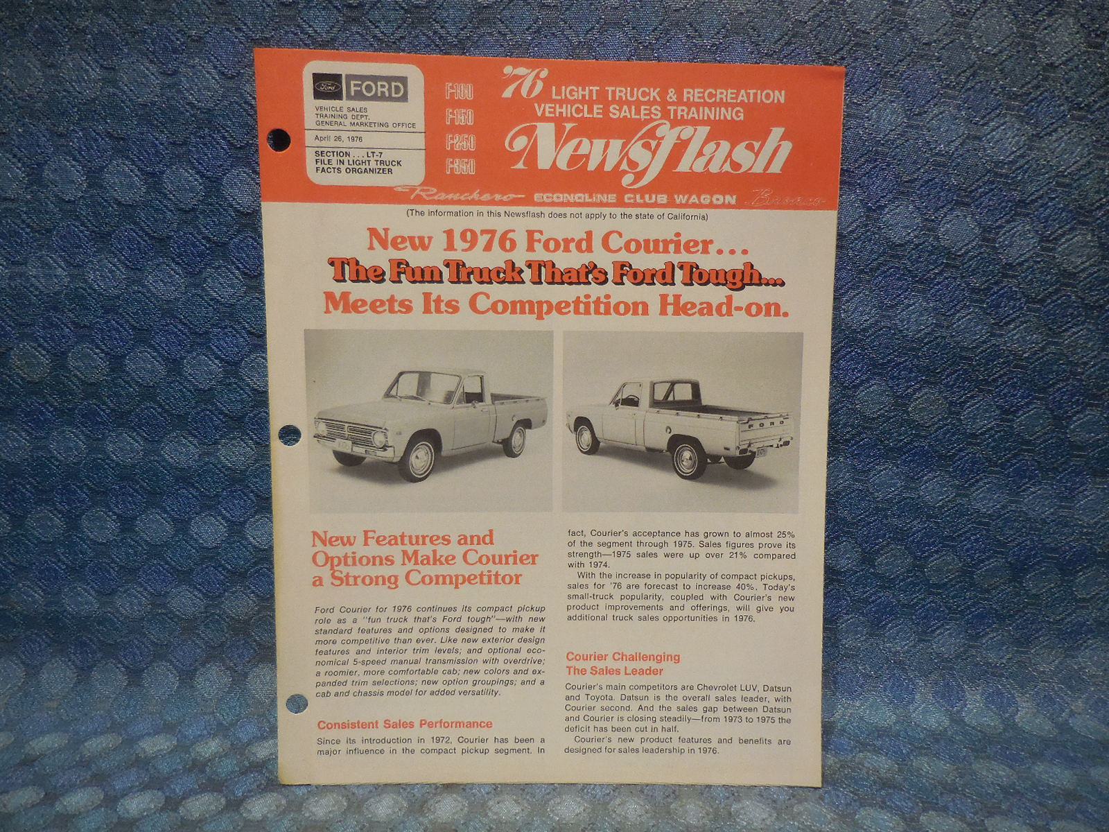 1976 Ford Courier Pickup Original Salesmans Newsflash