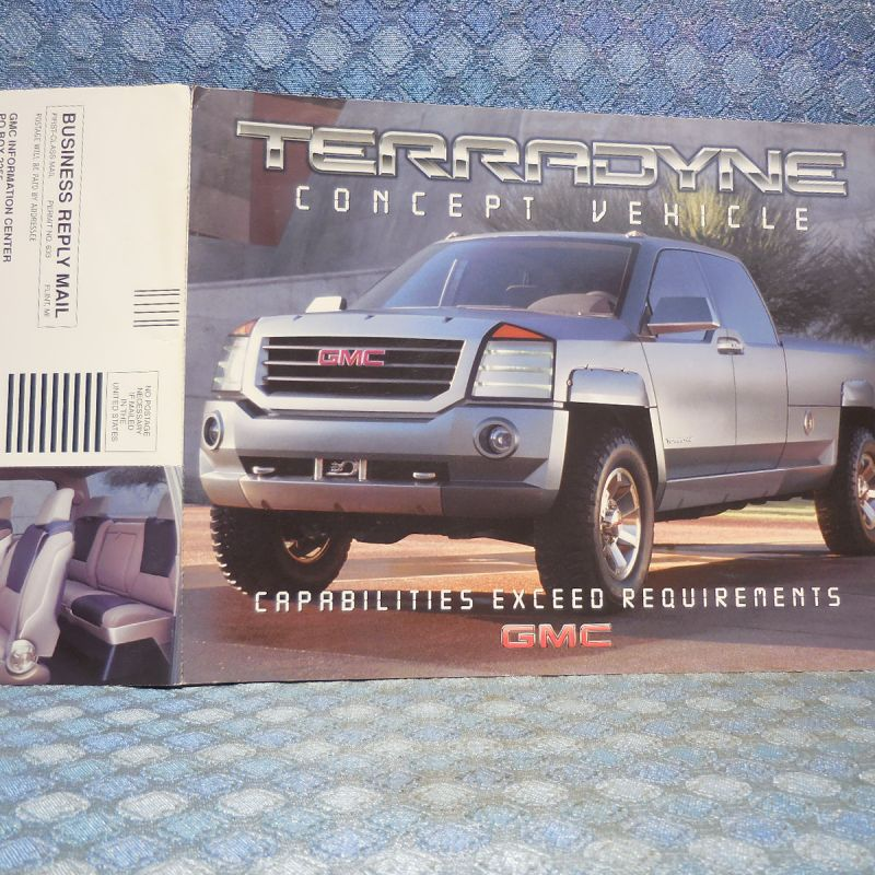 2002 GMC Treeadyne Concept Vehicle Original Sales Card