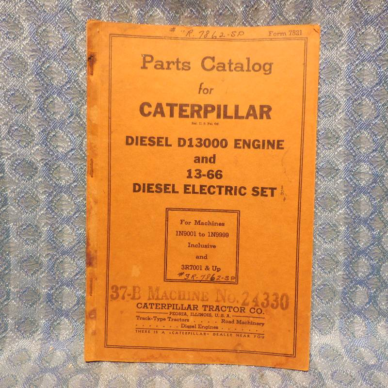 1940-1942 Caterpillar Diesel D13000 Eng & 13-66 Elec. Set Original Parts Catalog