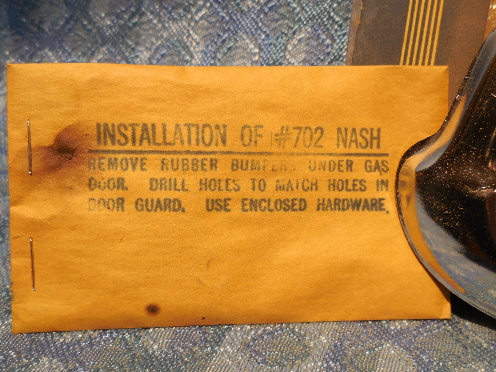 1949 1950 Nash Nors Accessory Fuel Door Guard Statesman Ambassador Ignition Circuit Diagram For The 1955 8 Cylinder
