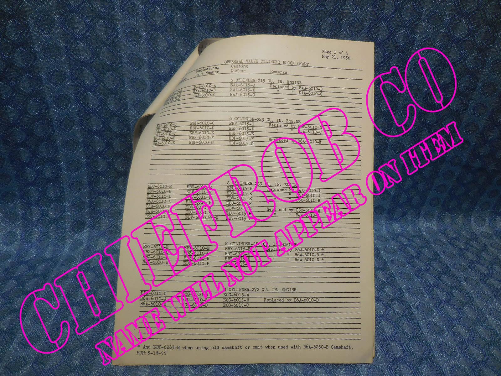 1954-1956 Ford Original Dealer Overhead Valve Cylinder Head & Block ID  Chart 55