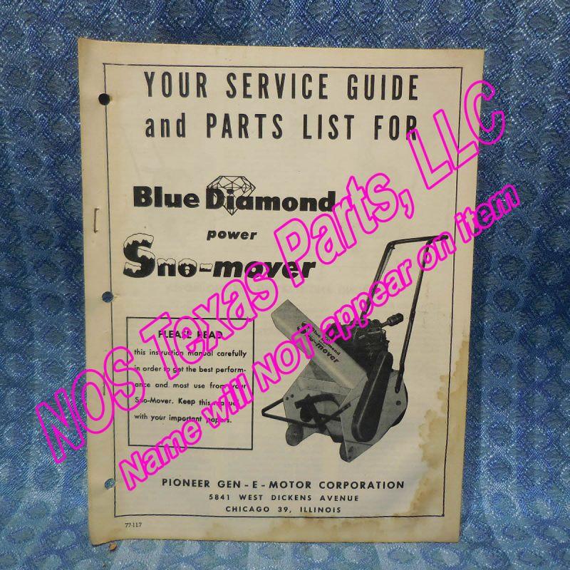 1955-1956 Pioneer Gen-E-Motor Blue Diamond Sno-Mover Original Service & Parts