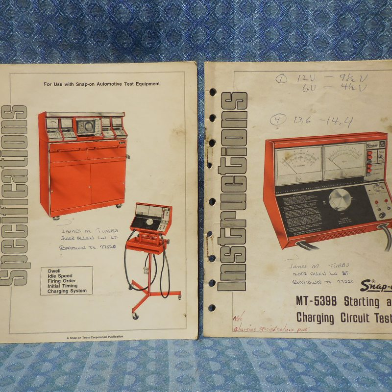 1973 Sun Starting & Charging Circuit Tester Original Instructions & Spec. Books