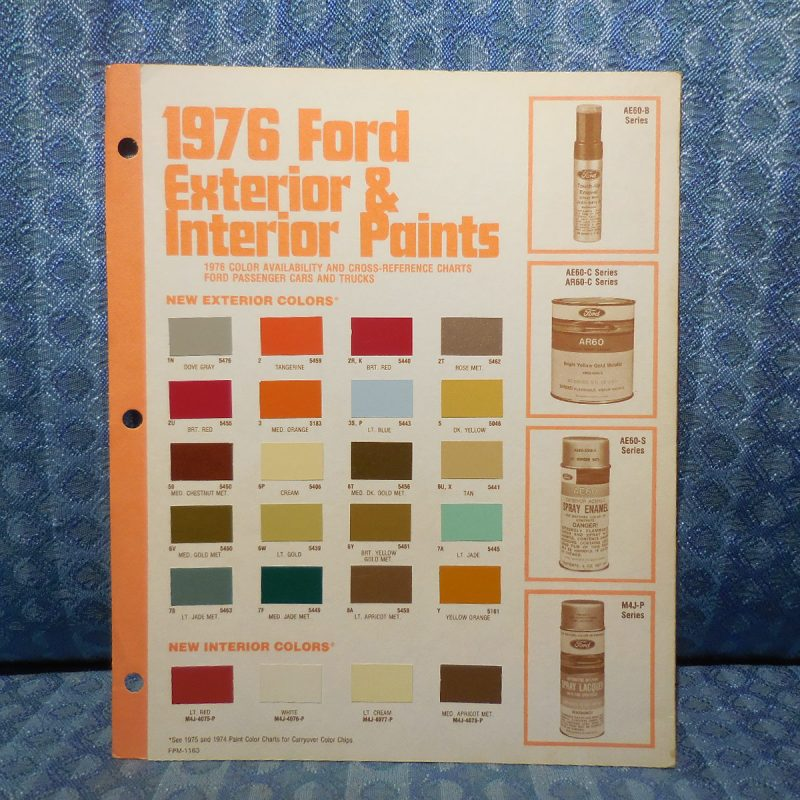 1976 Ford Lincoln Mercury OEM Paint Chip Color Chart Mustang Continental Cougar