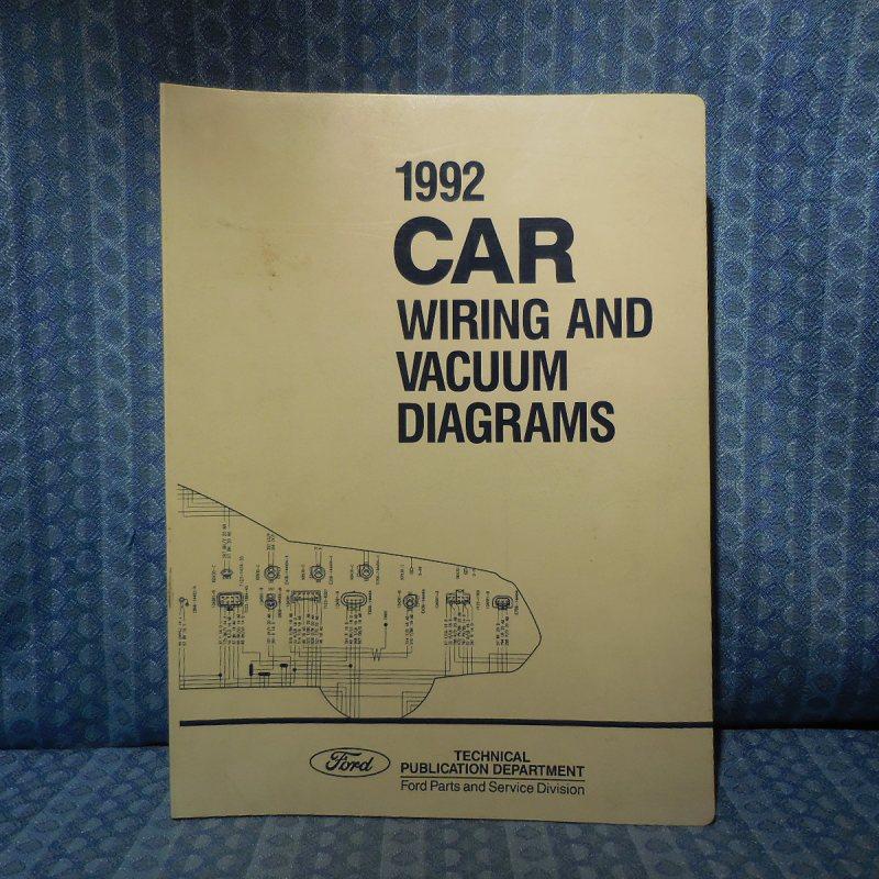 1992 Ford Lincoln Mercury OEM Wiring & Vacuum Diagrams Mark VII Mustang Cougar