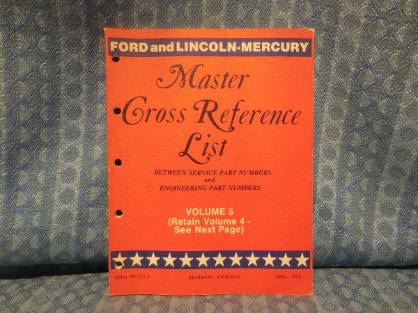 1975-76 Ford Lincoln Mercury Parts Original Master Cross Reference List Catalog