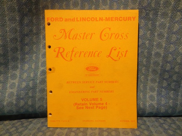 1975-78 Ford Lincoln Mercury Parts Original Master Cross Reference List Catalog