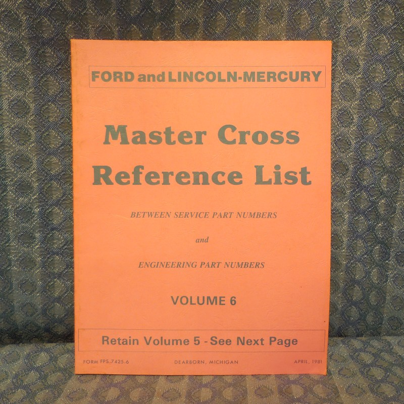 1980-1981 Ford Lincoln Mercury Truck Master Cross Reference List Manual Mustang