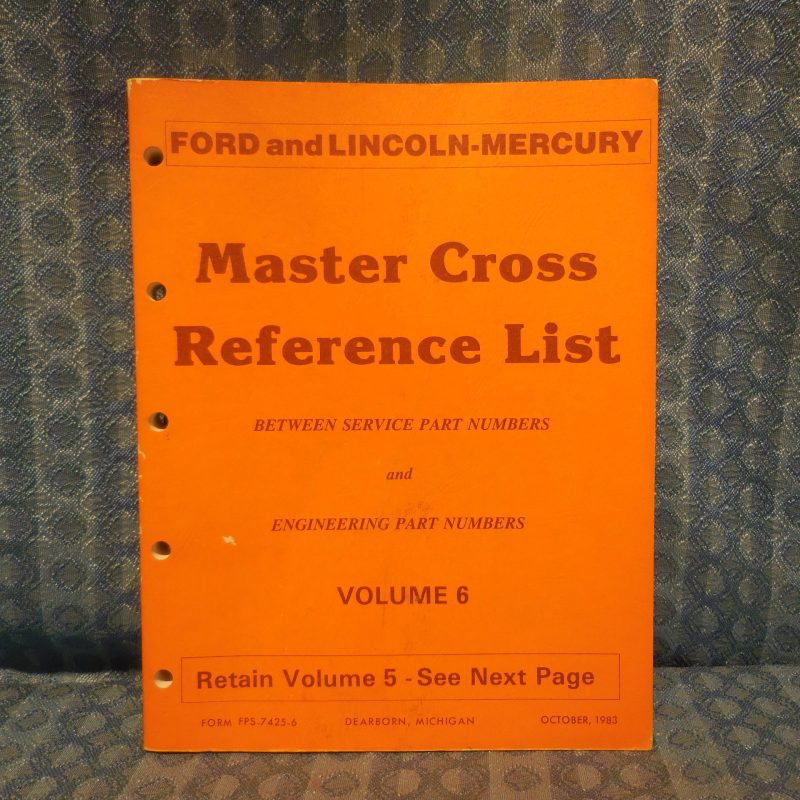 1980-1984 Ford Lincoln Mercury Truck Master Cross Reference List Manual Mustang