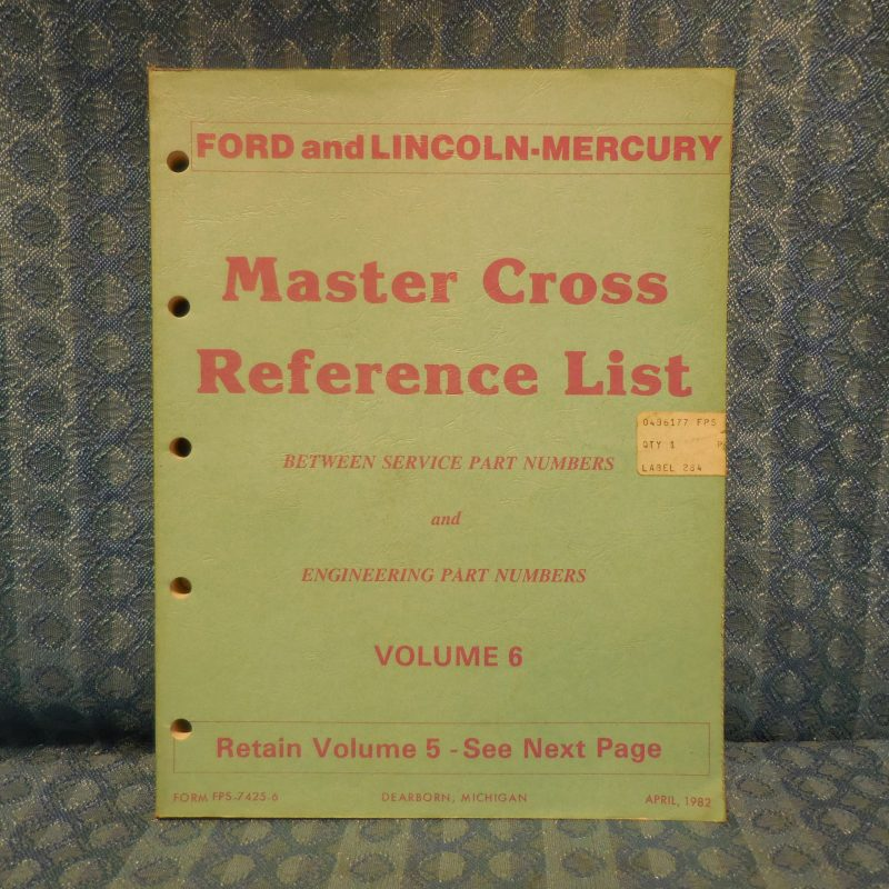 1980-82 Ford Lincoln Mercury Master Cross Reference List Manual Including Truck