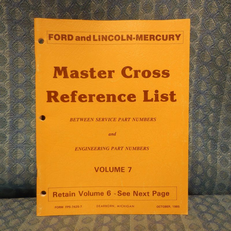 1985-1986 Ford Lincoln Mercury Truck Master Cross Reference List Manual Mustang