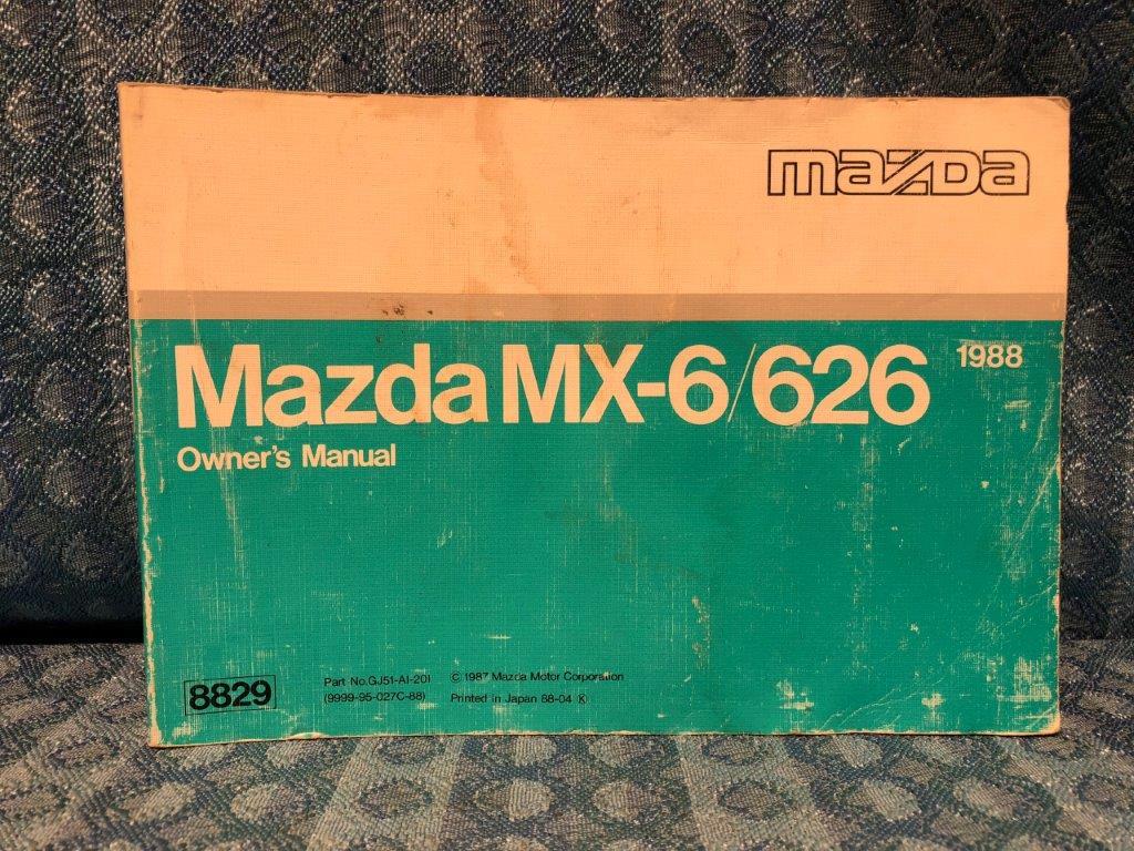 1988 mazda mx 6 626 original owners manual nos texas parts llc rh nostexasparts com 05 mazda 6 owners manual 06 Mazda 6 LT Seat