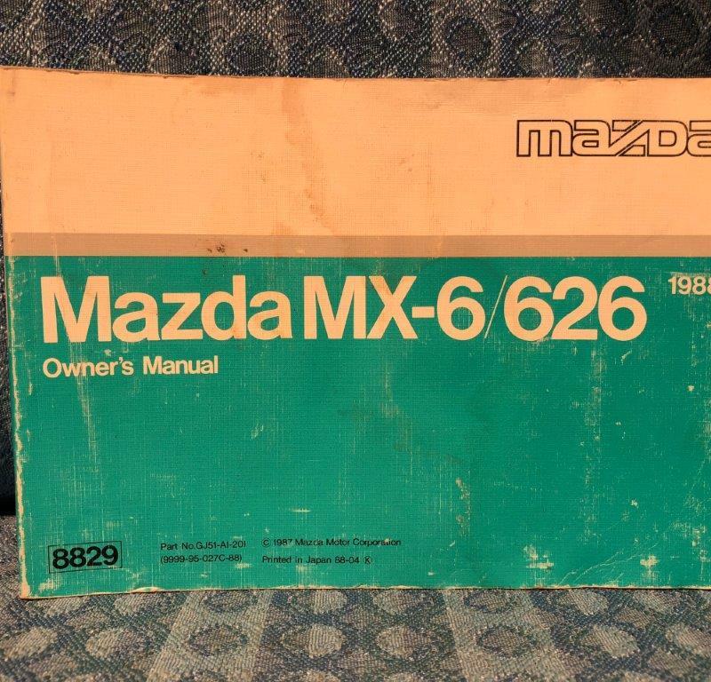 1988 Mazda MX-6 / 626 Original Owners Manual